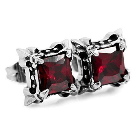 Four Prong Princess Cut Colored Crystal Stainless Stud Earring