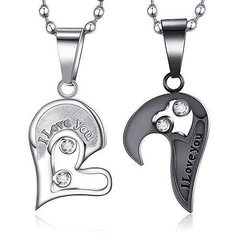 Black and Silver Puzzle Heart Crystal Stainless Steel Pendant Necklace