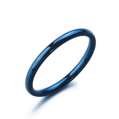 Slim Blue Anodized Stainless Ring
