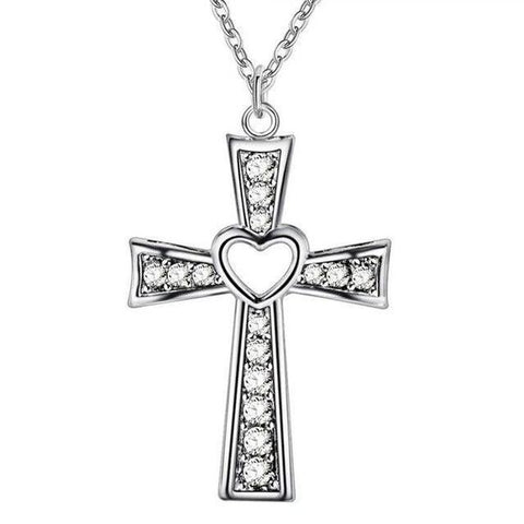 Crystal Encrusted Silver Tone Heart Cross Necklace