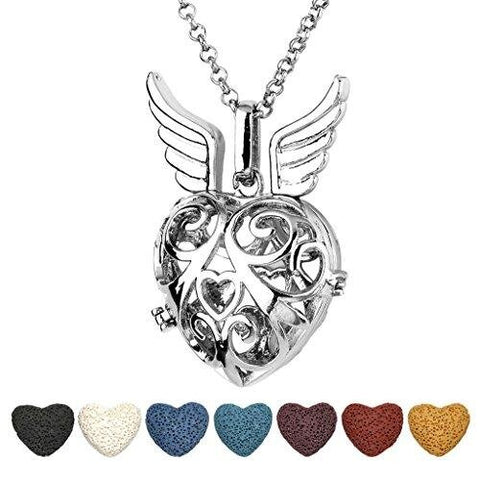 Antique Silver Heart Shape Locket Pendant Aromatherapy Diffuser Necklace