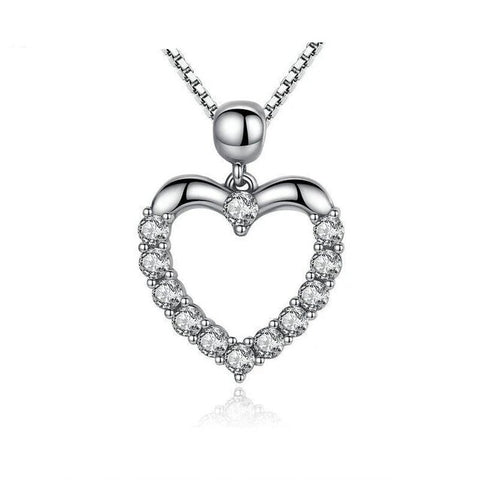 White Round Bright  Cut Pave Crystal Sterling Silver Necklace