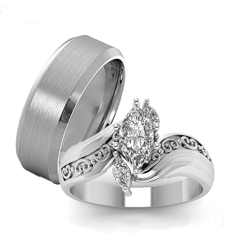 Three Stone Marquise crystal Brushed Stainless Steel Ring Set