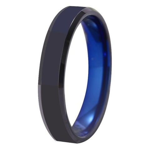 Geometric Black & Blue Tungsten Carbide Wedding Band