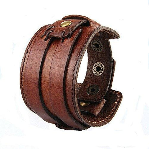 Adjustable Wide Wristband Brown Leather Bracelet