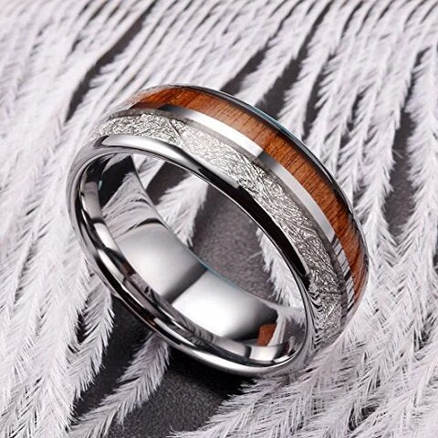 Tungsten with Imitated Meteorite and Koa Wood Inlay Ring