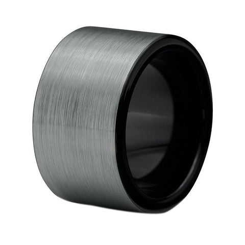 10mm Brushed Silver & Black Tungsten Carbide Ring