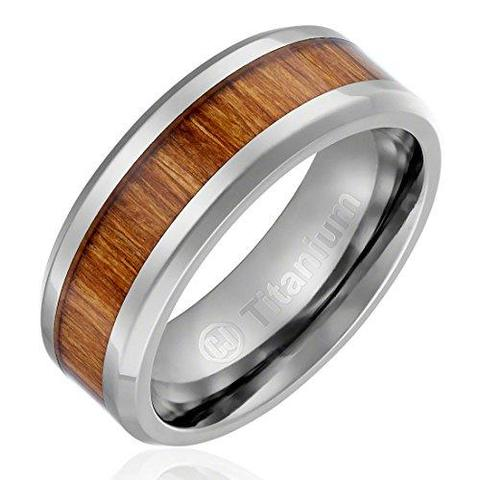 Elegant Light Broun Wood Inlay Titanium Wedding Band