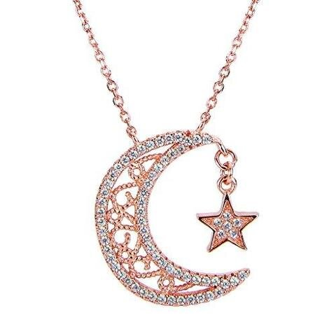 Sterling Silver Rose Gold CZ Crescent Moon Star Pendant Necklace