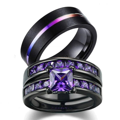 3PC Princess Cut Purple Zirconia Black Stainless Ring Set