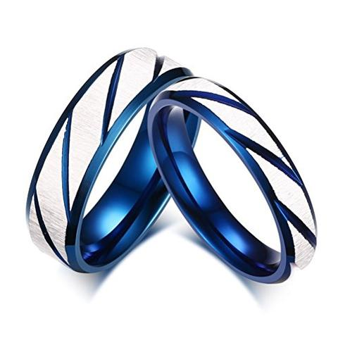 Blue White Stainless Steel Couples Vintage Style LGBTQ Wedding Ring