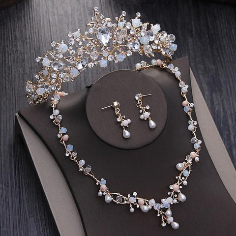 Gold-Tone Wire Stainless Crystal Beads Bridal Crown Set