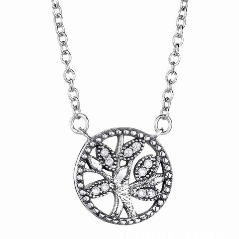 Crystal Pave Tree of Life Pendant Necklace