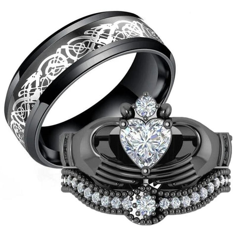 Black & White Heart Claddagh Stainless Ring Set