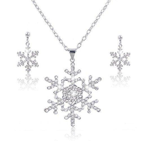 Crystal Pave Silver-tone Snowflake Necklace Earring Set