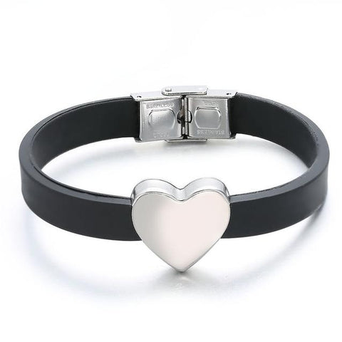 Stainless Steel Heart Black Silicone Bracelet