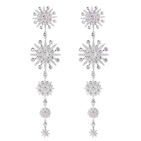 Snowflake Crystal Ball Long Dangle Earrings