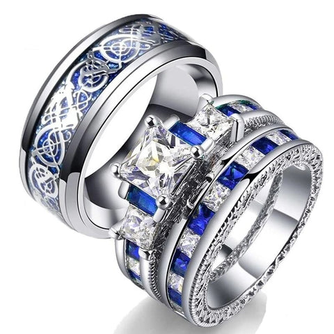 Blue & White Crown Dragon Stainless Ring Set