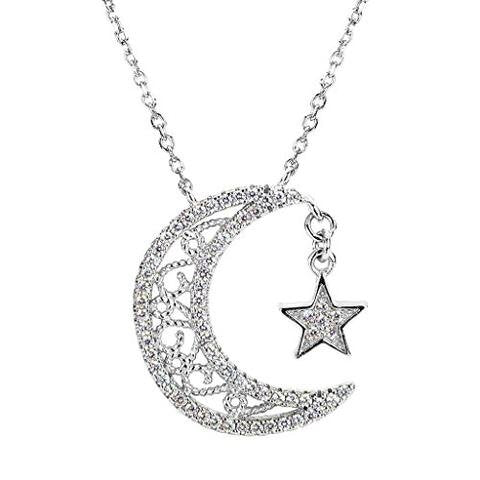 Sterling Silver CZ Crescent Moon and Star Pendant Necklace