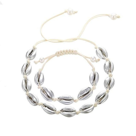 2PC Coated Cowrie String Choker Necklace Set