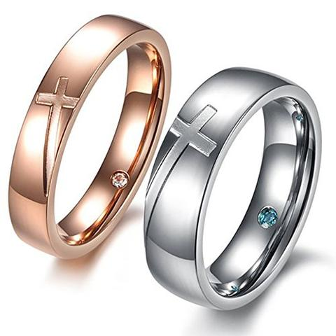 Rose White Gold Stainless Steel Cross CZ Inlay LGBTQ Wedding Band Set