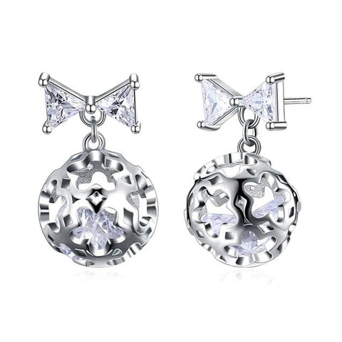 Crystal Ball Ribbon Bow Sterling Silver Stud Earrings