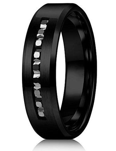 Modern Black CZ Titanium Wedding Rings