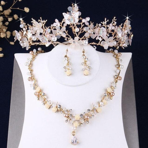 Gold-Tone White Butterfly Flower Tiara Stainless Jewelry Collection