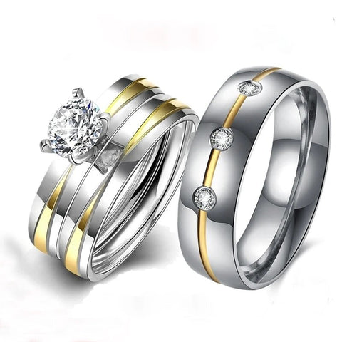 Silver & Gold Tiffany Set Pave Stainless Ring Set