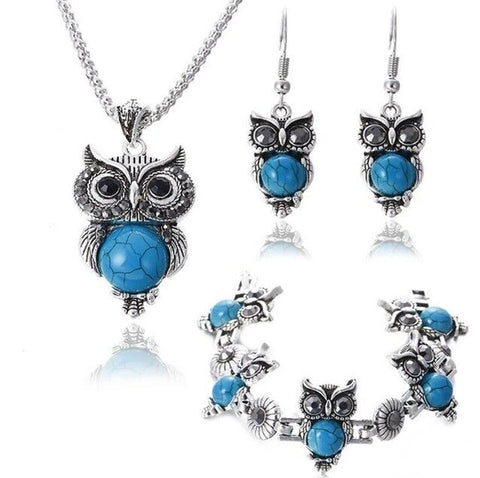 Blue Bead Marble Owl Fashion Accessory Set