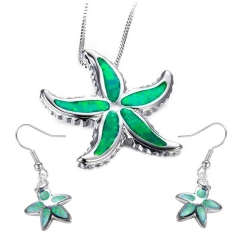 Simulated Opal StarFish Stainless Necklace Earring Set