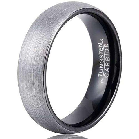 Men Simple Black Silver Brushed Tungsten Carbide