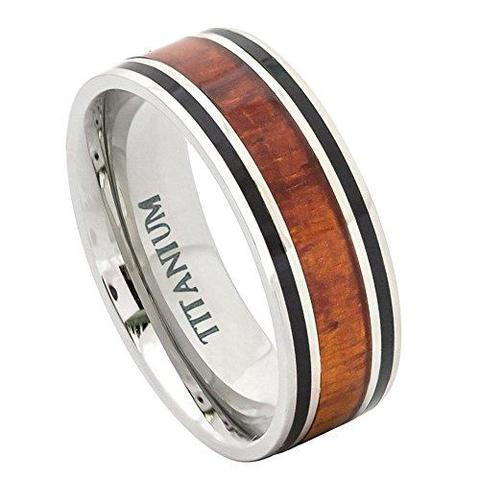 Titanium Flat Rosewood Inlay Wedding Ring For Men