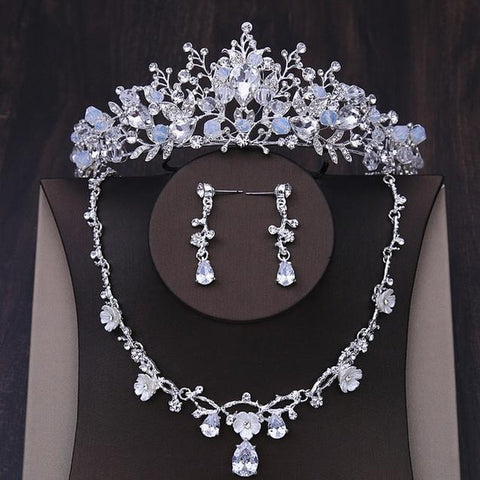 Crystal Tip Stainless Beads Flower Bridal Jewelry Set
