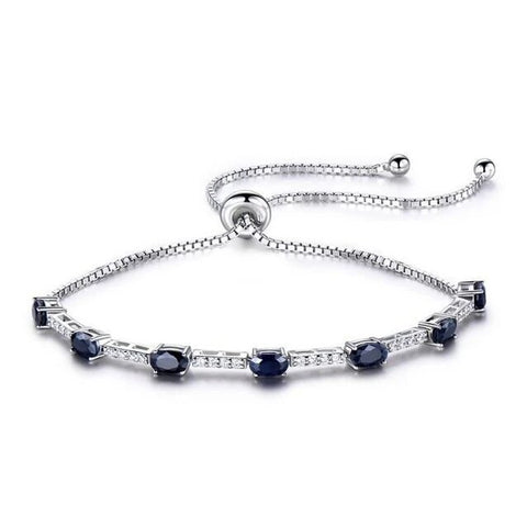 Simulated Pronged Crystal Box Chain Sterling Silver Bracelet
