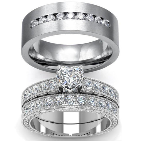 White Heart Zirconia Pave Stainless Ring Set