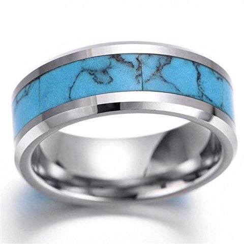Men Tungsten Ring Vintage Silver Comfort Fit Turquoise