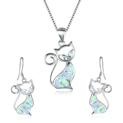 Simulated Sapphire Inlay Cat Necklace Earring Set