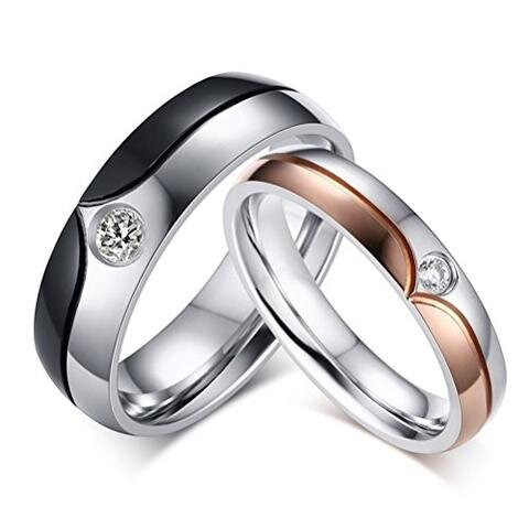 Stainless Steel Black Rose Gold Cubic Zirconia Lesbian Gay Wedding Ring