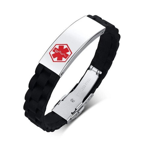 Star of Life Stainless Silicone Medical Bracelet