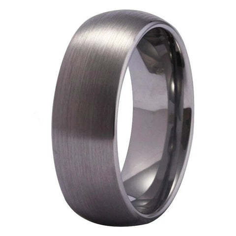 8mm Brushed Dome Silver Gray Engagement Ring