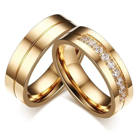 2PC Gold Stainless Steel Crystal Embedded Wedding Ring Set