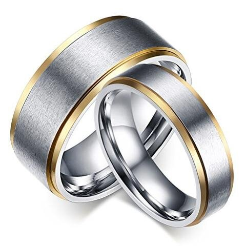 Titanium Stainless Steel Ring Gold Edges LGBTQ Wedding Ring