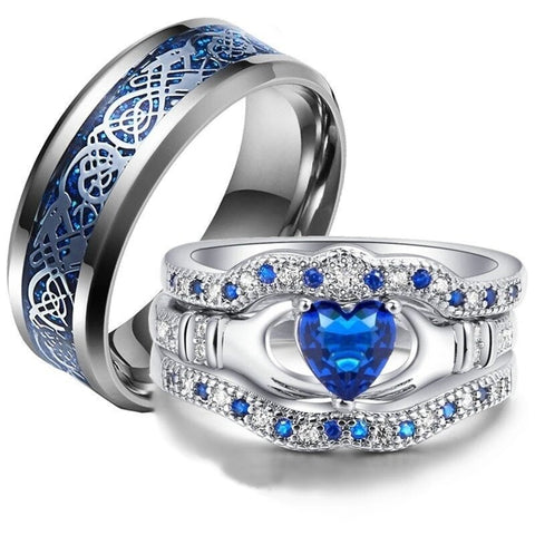Silver Dragon Blue Heart Claddagh Stainless Ring Set