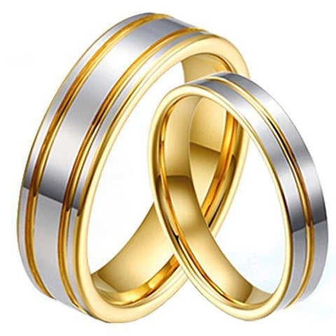 Classic Gold Silver Tungsten Carbide Ring Set