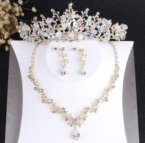 Victorian Foliage Gold-Tone Crystal Crown Stainless Jewelry Set