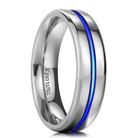 Blue and Silver 6mm Titanium Ring