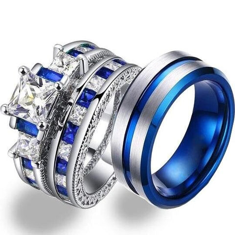 Blue & White Zirconia Crown Center Groove Stainless Ring Set