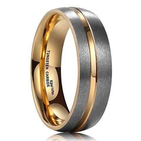 Gray Tungsten Carbide 18K Gold Plated Dome Gay Lesbian Wedding Ring