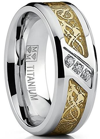 Dragon Cubic Zirconia Titanium Wedding Ring Band